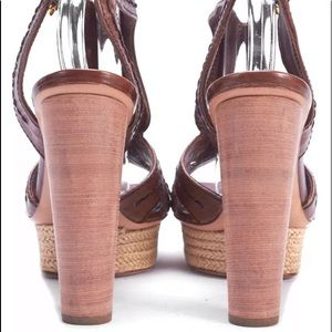 Prada Shoes - Prada Sz 10 Brown Platform Heels Wood Stacked Heel